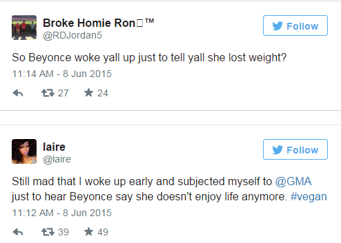 Bad Twitter responses to Beyonce GMA announcement .